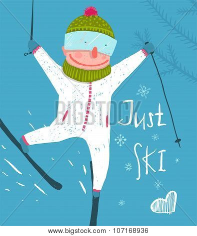 Skier Funny Free Rider Jump Fun Poster Design.