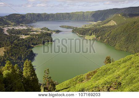 Landscape With Lake. Lagoa Azul Lagoa Verde. Sao Miguel. Azores
