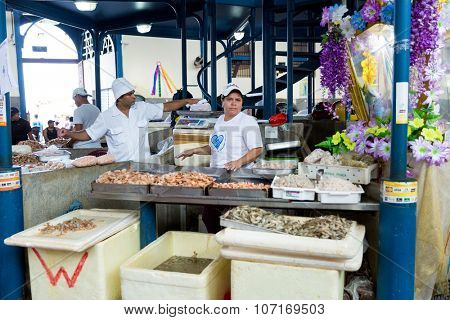 BELEM DO PARA, BRAZIL - CIRCA NOVEMBER 2015: Inside the famous Ver Peso Market in Belem do Para, Brazil