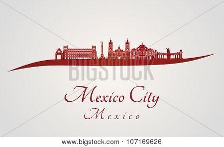 Mexico City V2 Skyline In Red