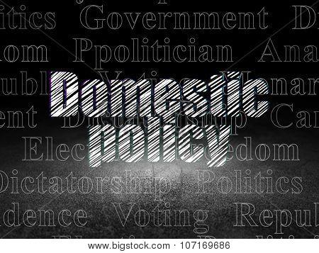 Politics concept: Domestic Policy in grunge dark room