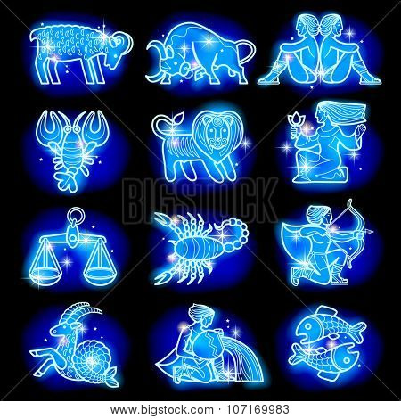 Set of blue linear zodiacal signs with figures on dark starry background. Horoscope figures with stars