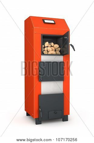 Firewood In The Solid Fuel Boiler. Isolated On White Background