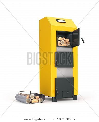 Solid Fuel Boiler And Firewood On Metal Stand Isolated On White Background