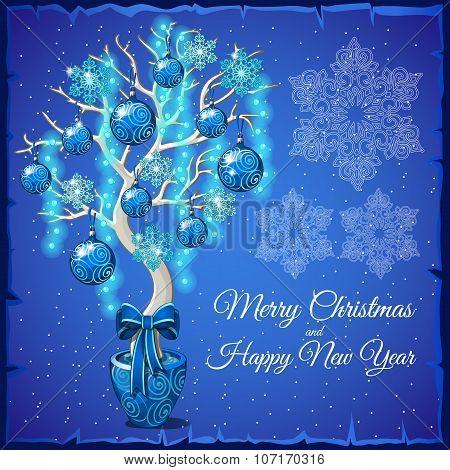 Christmas Bonsai with glass balls and snowflakes