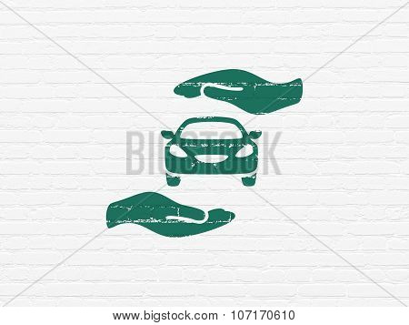 Insurance concept: Car And Palm on wall background