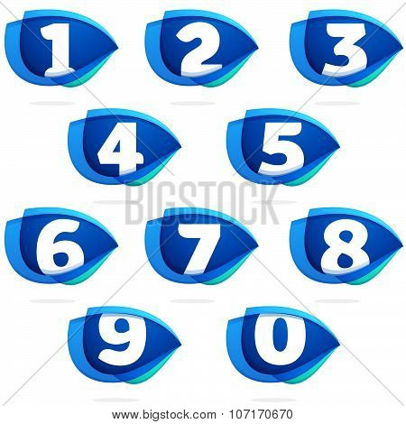 Numbers Set With Blue Wing Or Eye.