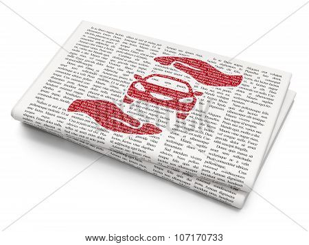 Insurance concept: Car And Palm on Newspaper background