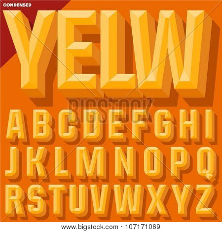 Vector 3D yellow condense beveled alphabet with shadow. Simple colored version.