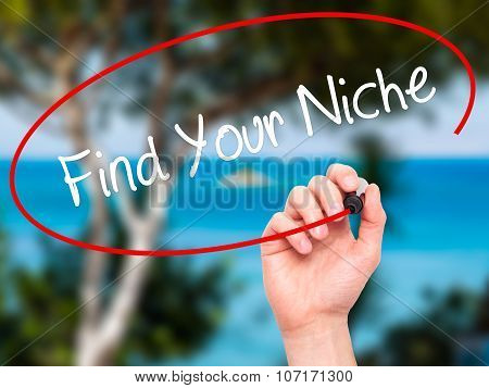 Man Hand writing Find Your Niche with black marker on visual screen.