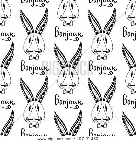 Hipster Rabbits Seamless Pattern. Vector French Greeting Bunjour Hand Drawing Hipster