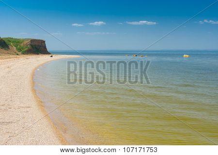 Summer landscapeat Kakhovka Reservoir located on the Dnepr River
