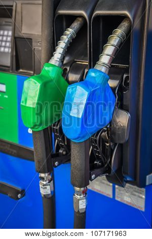 Fuel Pump Nozzles In A Service Station