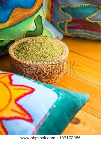Henna Powder Hair Colourant In The Coconut Bowl