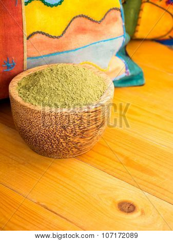 Henna Powder In The Coconut Bowl