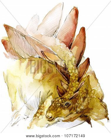 Dinosaur watercolor illustration. dinosaur jurassic period.