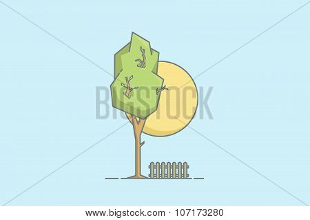 Line Vector Colorful Tree. Stock Vector.