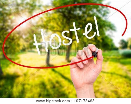 Man Hand writing Hostel with black marker on visual screen.