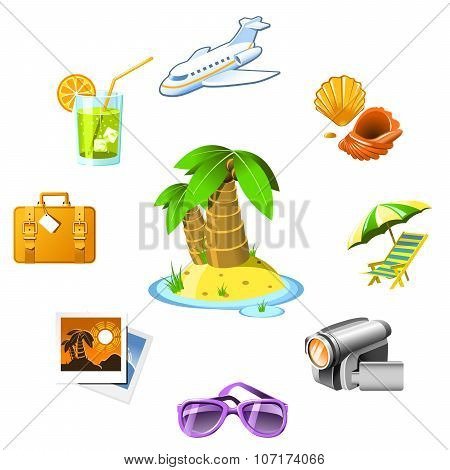Travel and vacation resort icons