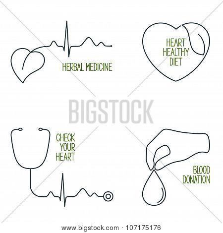 Heart Health Icons Set