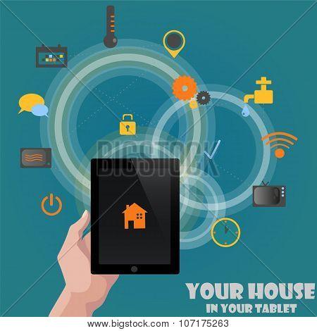 Smart home detectors control concept via tablet