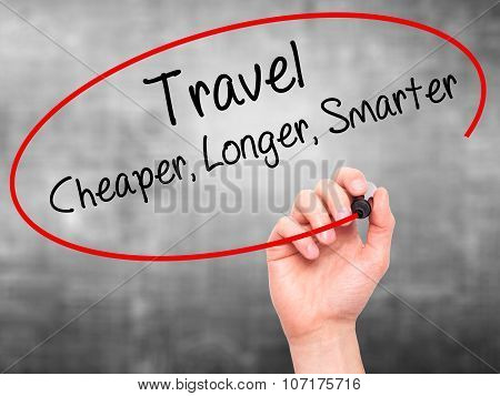 Man Hand writing Travel Cheaper Longer Smarter with black marker on visual screen.