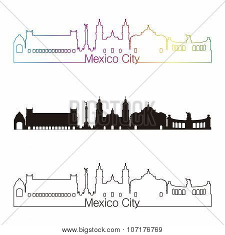 Mexico City V2 Skyline Linear Style With Rainbow