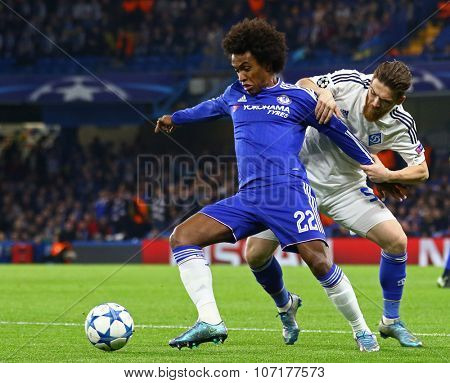LONDON, ENGLAND - NOVEMBER 04 2015: Willian of Chelsea and Vitorino Antunes of Dynamo Kyiv during the UEFA Champions League match between Chelsea and Dynamo Kyiv at Stamford Bridge