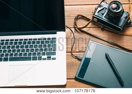 Work space for photographer