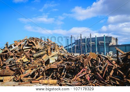 Scrap Steel Recycling Prepared For melting In Steel Industry