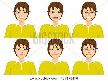 teenager on six different face expressions set