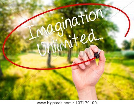 Man Hand writing Imagination Unlimited... with black marker on visual screen