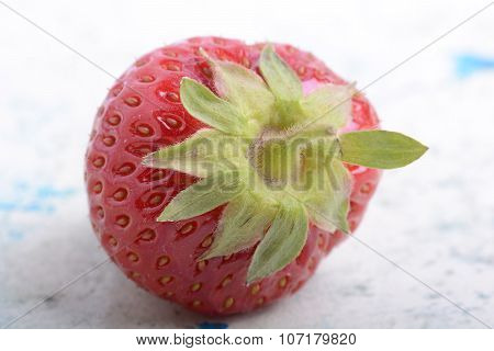 Big Fresh Strawberry With Green Leave, Close Up