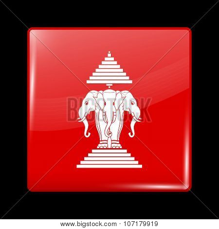 Flag Of The Kingdom Of Laos. Glassy Icon Square Shape