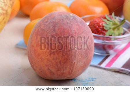 Many Different Fruits For The Health Of The Entire Family, Peach, Mandarin, Orange, Banana