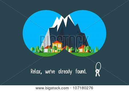 Rural property search. Advertising poster, trendy modern flat vector illustration.