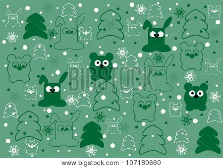 Cute childish  vector background with baby animals