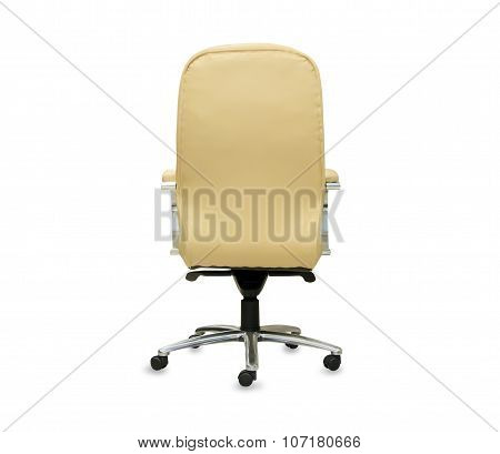 Back view of modern office chair from beige leather.