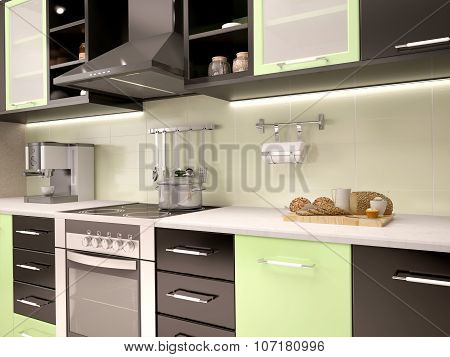 3D Illustration Of Modern Kitchen Kitchen In Black And Green Colors