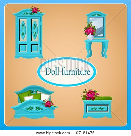 Blue doll furniture, four objects