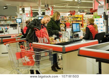 Paying In Supermarket