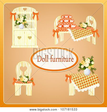 Beige doll furniture, four objects