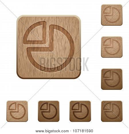 Pie Chart Wooden Buttons