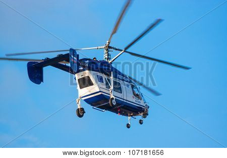 Police Russian Helicopter In Sky