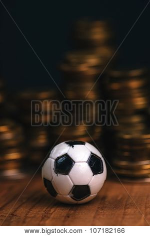 Soccer Bet Concept With Football And Money