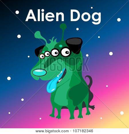 Alien two-headed dog in the sky