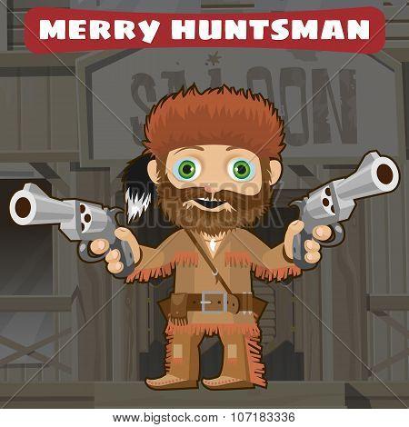 Cartoon character of Wild West - merry huntsman