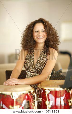 Beautiful Young Woman At Percussion