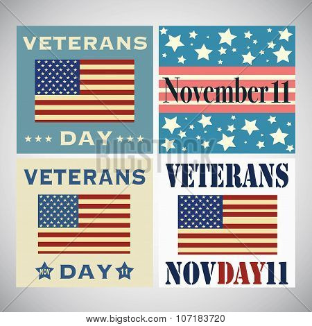 Set Of Veterans Day Greetings Isolated On White