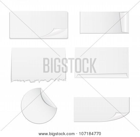 Set of White Paper Stickers Isolated on Background.  Vecto